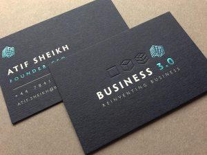 business card realizzata con la tecnica del debossing